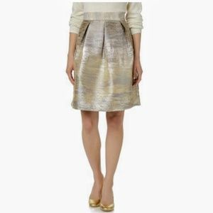 Simply Styled Gold Silver Jacquard A Line Skirt